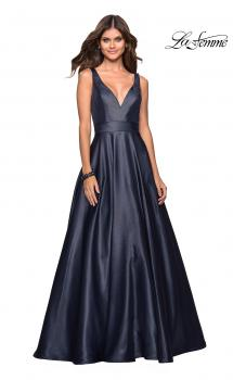 Picture of: Long Mikado Ball Gown with V Front and Back in Navy, Style: 27202, Main Picture
