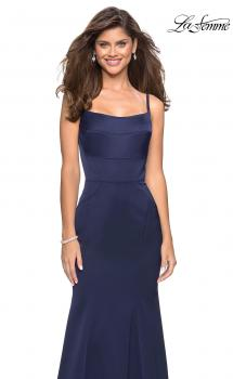 Picture of: Fitted Long Dress with Seams and Large Gold Zipper in Navy, Style: 27524, Main Picture