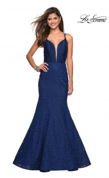 Picture of: Mermaid Style Lace Dress with Strappy Open Back in Navy, Style: 27560, Main Picture