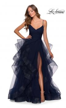 Picture of: Layered Tulle Prom Dress with V Shaped Neckline in Navy, Style: 28502, Main Picture