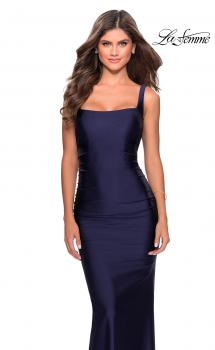 Picture of: Long Jersey Prom Dress with Full V-Shaped Back in Navy, Style: 28634, Main Picture