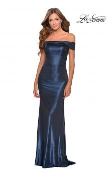 Picture of: Two Piece Dress with Sheer Off the Shoulder Top in Navy, Style: 28704, Main Picture