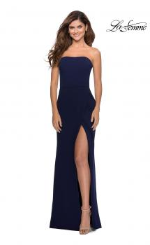 Picture of: Strapless Double Strap Long Jersey Prom Dress in Navy, Style: 28835, Main Picture