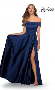 Picture of: Satin Off the Shoulder Evening Dress with Pockets in Navy, Style: 28978, Main Picture