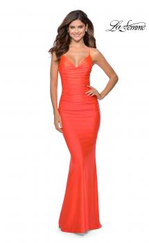 Picture of: Neon Prom Dress with Ruching and Strappy Back in Neon Coral, Style: 29020, Main Picture