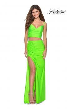 Picture of: Two Piece Long Prom Dress with Ruched Detailing in Neon Green, Style: 28472, Main Picture