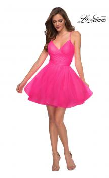 Picture of: Tulle Homecoming Dress with Strappy Open Back in Neon Pink, Style: 29364, Main Picture
