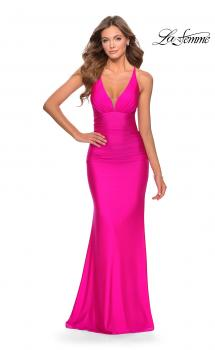 Picture of: Ruched Jersey Prom Dress with Strappy Lace Up Back in Neon Pink, Style: 28297, Main Picture