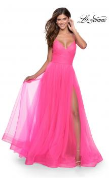 Picture of: Long Tulle A-line Prom Gown with Side Slit and Pockets in Neon Pink, Style: 28561, Main Picture