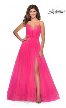 Picture of: Long Tulle Prom Dress with Criss Cross Bodice Detail in Neon Pink, Style: 28893, Main Picture