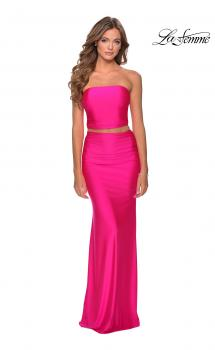 Picture of: Tube Top Two Piece Long Neon Prom Dress in Neon Pink, Style: 28972, Main Picture