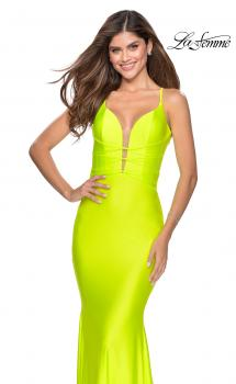 Picture of: Triple Knotted Jersey Prom Dress with Tie Up Back in Neon Yellow, Style: 28905, Main Picture