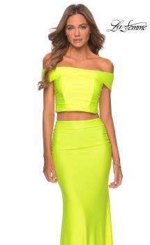 Picture of: Neon Two Piece Prom Dress with Off the Shoulder Top in Neon Yellow, Style: 29146, Main Picture