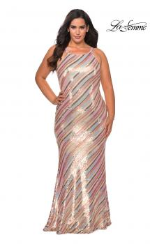 Picture of: Multi Colored Plus Size Sequin Dress with High Neckline in Nude Multi, Style: 28877, Main Picture