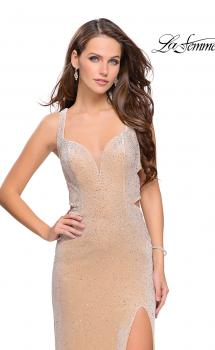 Picture of: Velvet Prom Dress Covered in Rhinestones with Side Cut Outs in Nude, Style: 25266, Main Picture