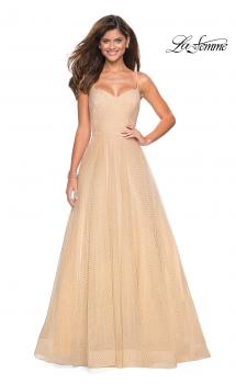 Picture of: Rhinestone A-Line Tulle Prom Dress in Nude, Style: 27608, Main Picture