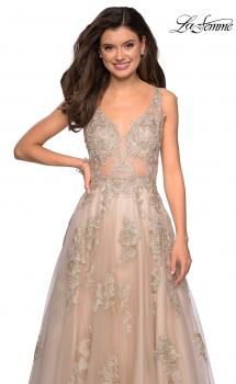 Picture of: Sheer Bodice Prom Dress with Floral Embellishments in Nude, Style: 27647, Main Picture