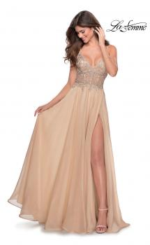 Picture of: A-line Gown with Sheer Floral Embellished Bodice in Nude, Style: 28543, Main Picture