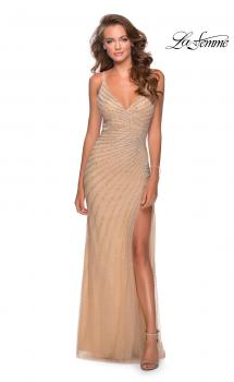 Picture of: Long lLuxe Beaded Dress with Slit and Open Back in Nude, Style: 28646, Main Picture