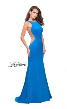 Picture of: Satin Mermaid Prom Gown with Mesh and Scoop Back in Ocean Blue, Style: 26076, Main Picture