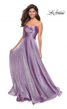 Picture of: Strapless Chiffon Dress with Criss Cross Bodice Detail in Orchid, Style: 27515, Main Picture