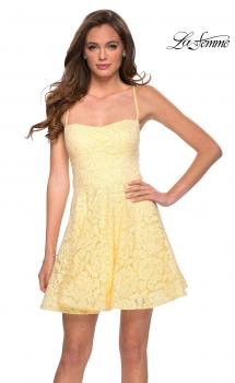 Picture of: Lace Fit and Flare Homecoming Dress with Rhinestones in Pale Yellow, Style: 29273, Main Picture