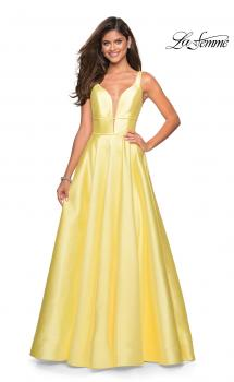 Picture of: A Line Sweetheart Prom Dress with Pockets in Pale Yellow, Style: 26768, Main Picture