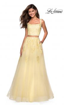 Picture of: Two Piece Floor Length Prom Dress with Lace Detail, Style: 27489, Main Picture
