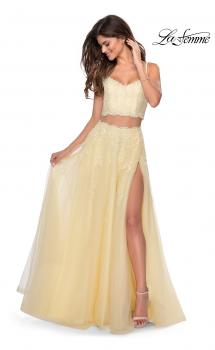 Picture of: Long Two Piece Tulle Gown with Floral Embroidery in Pale Yellow, Style: 28271, Main Picture