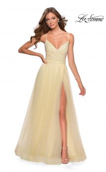 Picture of: Tulle A-line Dress with Patterned Rhinestone Bodice in Pale Yellow, Style: 28511, Main Picture