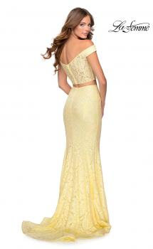 Picture of: Two Piece Off the Shoulder Sequin Lace Prom Dress in Pale Yellow, Style: 28565, Main Picture