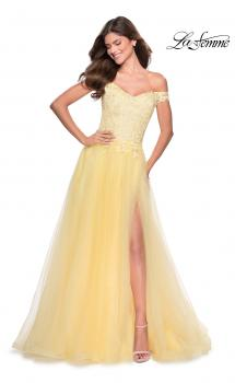Picture of: Off the Shoulder Tulle Gown with Sheer Floral Bodice in Pale Yellow, Style: 28598, Main Picture