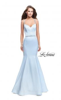 Picture of: Satin Mermaid Prom Dress with Beading and Open Back in Pale Blue, Style: 25711, Main Picture