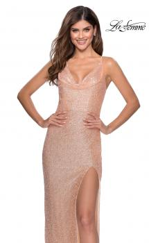 Picture of: Form Fitting Sequin Prom Dress with Drape Neckline in Peach, Style: 28429, Main Picture