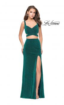Picture of: Long Jersey Two Piece Prom Dress with Side Cut Outs, Style: 25597, Main Picture