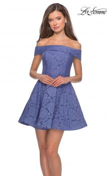 Picture of: Off the Shoulder Lace Fit and Flare Homecoming Dress, Style: 28122, Main Picture