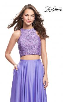 Picture of: Two Piece Prom Gown with Beaded lace Top and Pockets n Periwinkle, Style: 26087, Main Picture