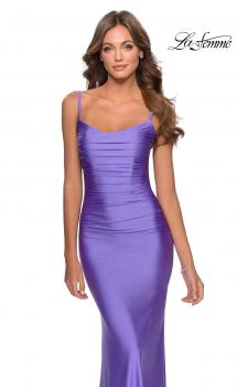 Picture of: Long Ruched Jersey Prom Dress with Thin Straps in Periwinkle, Style: 28398, Main Picture
