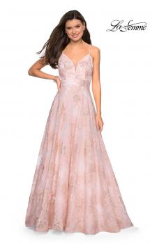 Picture of: Empire Waist Prom Dress with Metallic Floral Accents in Pink Multi, Style: 27549, Main Picture