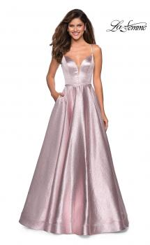 Picture of: Metallic Long Evening Gown with Plunging Neckline, Style: 27322, Main Picture