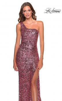 Picture of: Glamorous One Shoulder Sequin Prom Gown in Pink, Style: 28596, Main Picture