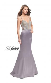 Picture of: Mermaid Prom Dress with Beaded Top and Strappy Back in Platinum, Style: 24691, Main Picture