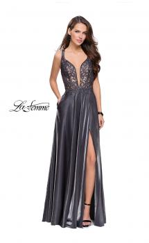 Picture of: Two Tone A-line Gown with Lace Bodice and Leg Slit, Style: 25907, Main Picture