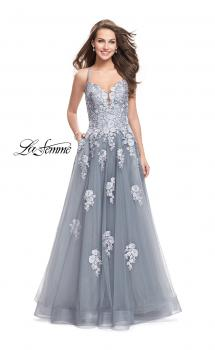 Picture of: Long Floral Lace Ball Gown with Tulle Skirt in Platinum, Style: 26236, Main Picture