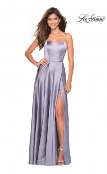 Picture of: Satin Formal Prom Gown with Scoop Neck and Pockets in Platinum, Style: 26977, Main Picture
