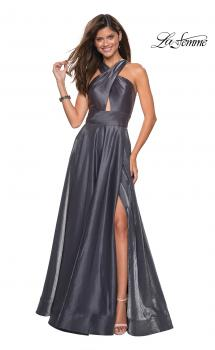 Picture of: Tone Tone Satin Dress with Wrap Around High Neckline in Platinum, Style: 27151, Main Picture