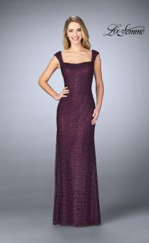 Picture of: Lace Evening Gown with Thick Straps and Beading in Plum, Style: 24891, Main Picture