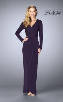 Picture of: Tulip Hem Long Sleeve Evening Gown in Plum, Style: 24927, Main Picture