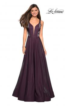 Picture of: Two Tone Satin Long Gown with Plunging Neckline in Plum, Style: 27049, Main Picture