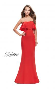 Picture of: Strapless Mermaid Prom Dress with Ruffles in Poppy Red, Style: 25419, Main Picture